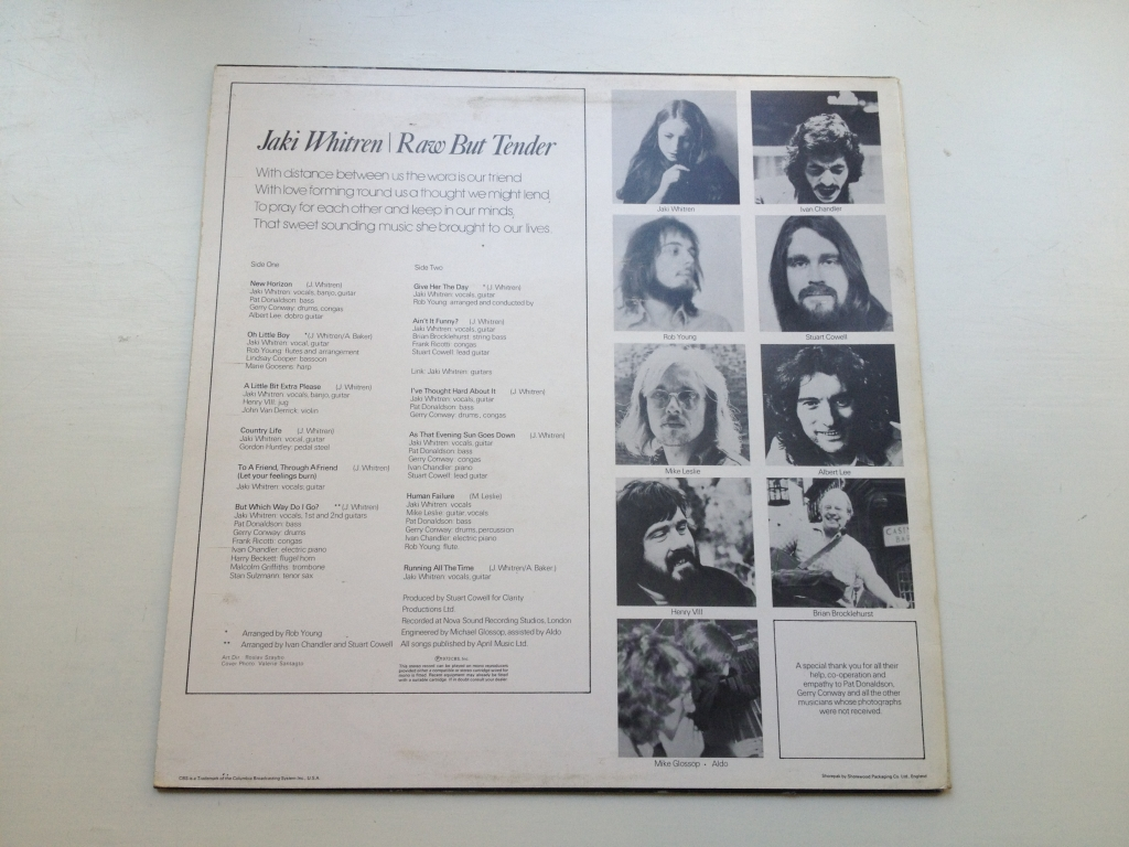 For sale: Jaki Whitren - Raw But Tender UK 1973 Epic | Folk Rock, Singer-songwriter