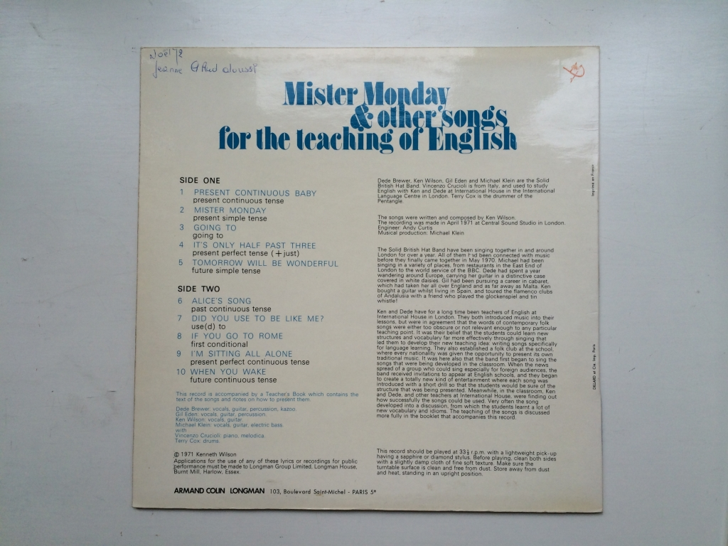 For sale: The Solid British Hat Band - Mister Monday & Other Songs For The ... France 1971 Longman | Folk Rock