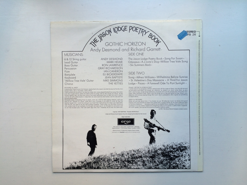 For sale: Gothic Horizon - The Jason Lodge Poetry Book UK 1971 Argo Records | Psych, Folk, Pop