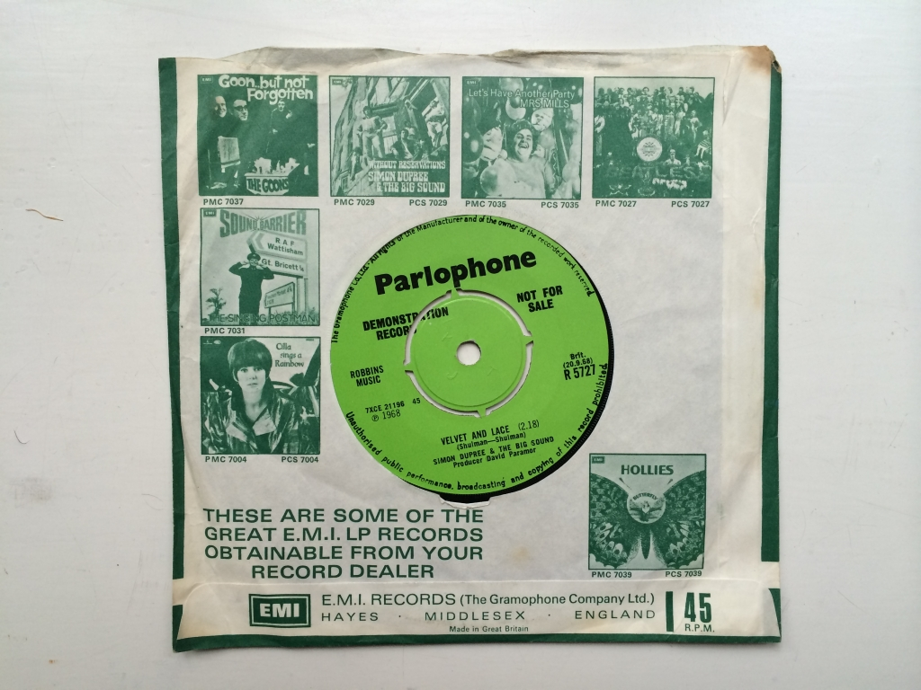For sale: Simon Dupree and The Big Sound - Thinking About My Life / Velvet And Lace UK 1968 Parlophone | Psych, Pop
