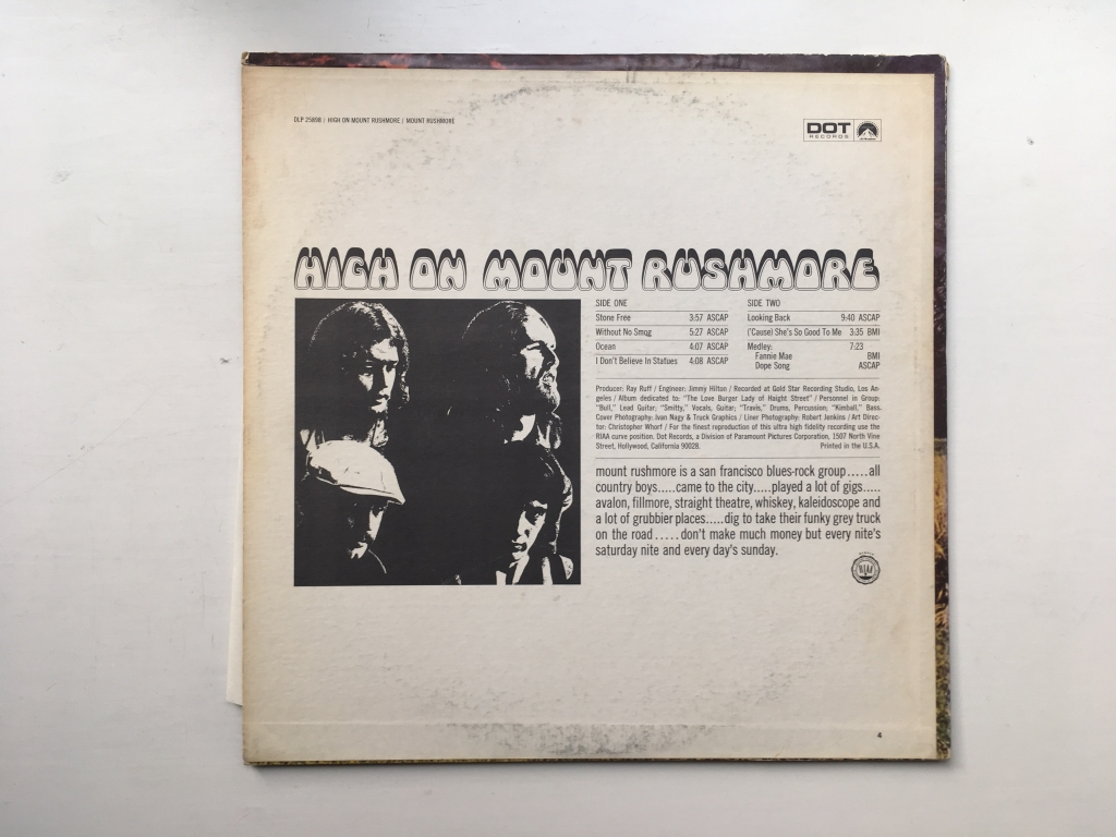 For sale: Mount Rushmore - High On Mount Rushmore US 1968 Dot Records | Psych, Rock