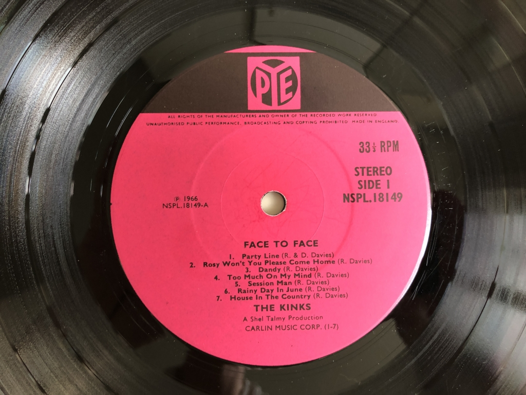 For sale: The Kinks - Face To Face UK 1966 Pye Records | Rock, Pop